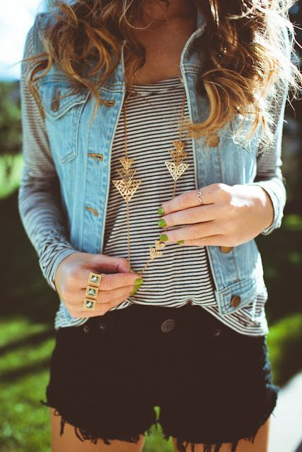 striped tee, denim vest, long necklace, black bottoms