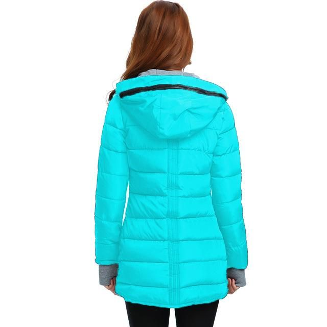 Jacket Winter Women Slim Wadded Coat Cotton Long Medium coat Basic Padded  Hooded Size Plus Eiswelt  0ef574d86a