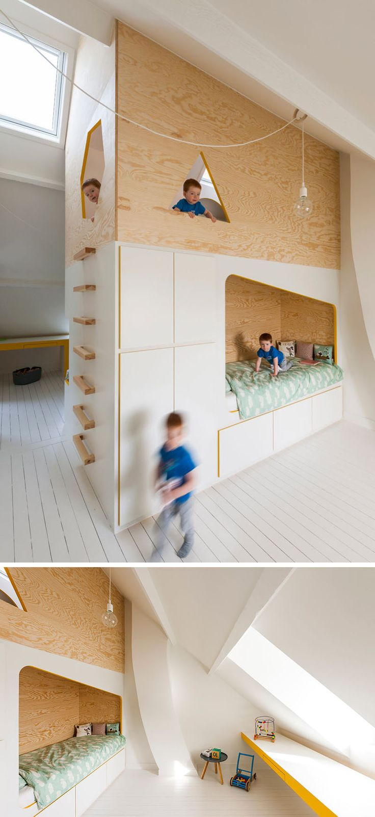 best  modern bunk beds ideas on pinterest  modern bed rails  - this kids room has a custom designed double bed and lofted play space