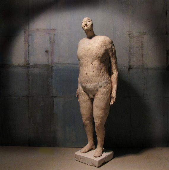 Standing Man/ Ceramic Sculpture/ Unique Figure by annakozlowskaluc
