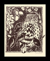 """The Owl and the Birds, illustration; by Greta Schimmel. September, 2009; lino print on Rives buff printing paper; 6.5""""w x 8""""h.  Illustration of Aesop's fable """"The Owl and the Birds."""""""