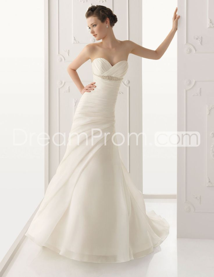 Glamorous A Line Sweetheart Ruched Floor Length Chapel