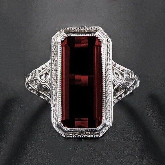 Women Men 925 Silver Ring Huge 8 2ct Ruby Wedding Party Vintage