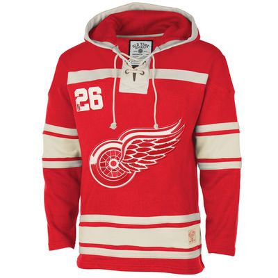 Detroit Red Wings Old Time Hockey Home Lace Heavyweight Hoodie – Red