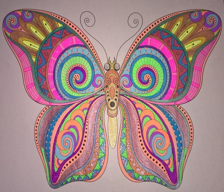 Butterfly  #colouringbooks #colouringforadults #adultcolouring #adultcoloring #stressfree #relaxing #blending