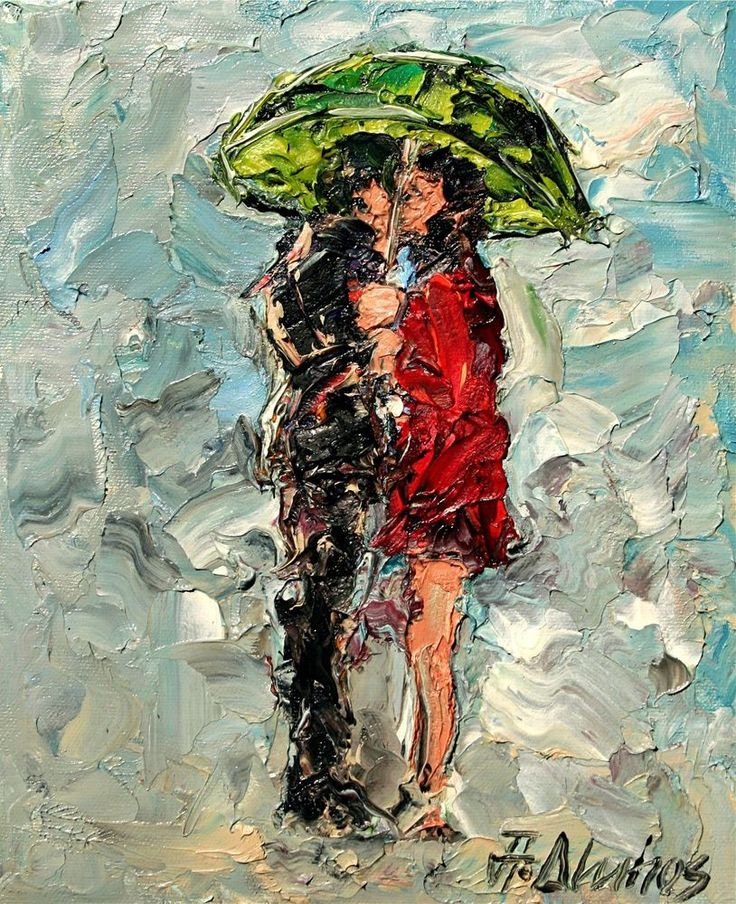 ANDRE DLUHOS Cityscape Urban Umbrella Couple Kissing Rain ORIGINAL Oil Painting  #Impressionism