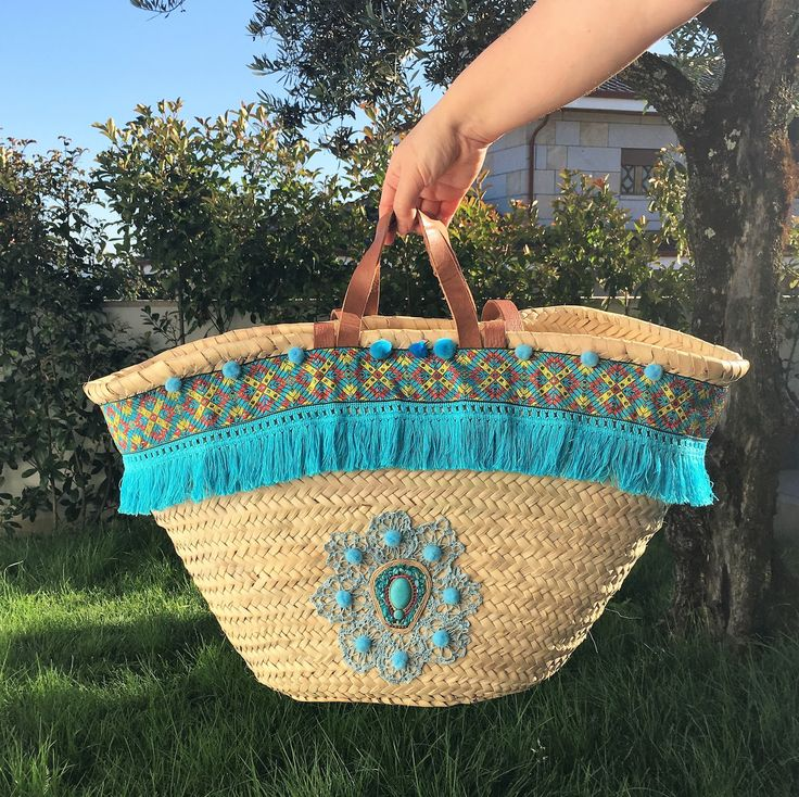 Boho Chic Beach Straw Bag; Customized Capazo; Decorated Market Basket; French Market Tote; Picnic Basket;Women's Gift; by Nenasideas on Etsy
