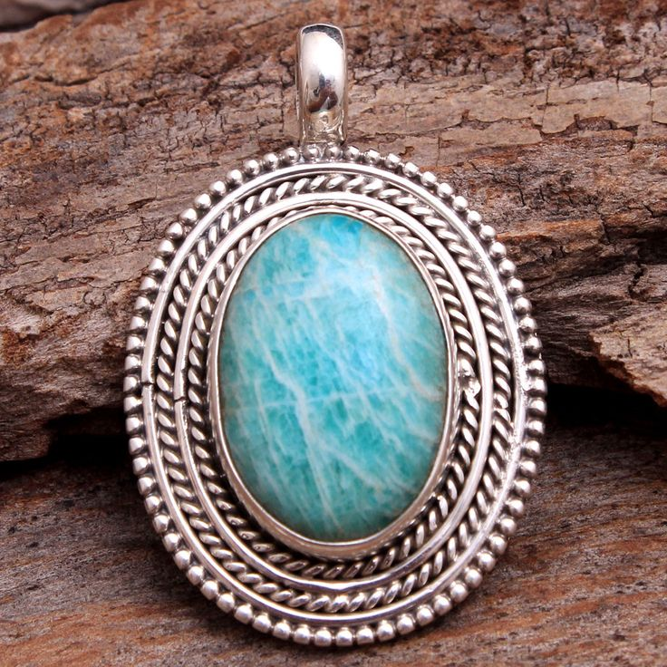 Unique Collection For Mother's Day Gift Peruvian Amazonite Gemstone Pendant – 925 Sterling Silver Handmade Pendant Length 1.35″ -ap2668 by arishakreation on Etsy