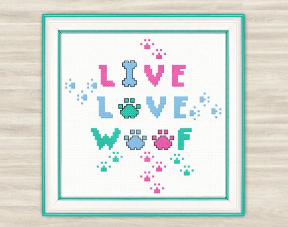 Woof Cross Stitch Pattern PDF dog paws needlework a pet embroidery love pets pattern dog funny chart bright  live love woof bone for dogs