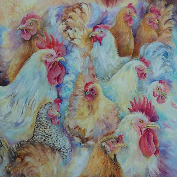 Roosters, Animal Art, ORIGINAL OIL PAINTING on canvas, Birds, Hand painted, Large size,  Animal painting, Original artwork