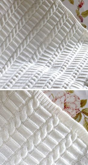 Knitting Pattern for Easy Cable Blanket - This pattern from Matilda's Meadow features easy braided cables alternating with a ridge stitch section. Three sizes from small baby blanket to large afghan. Rated easy by the designer.