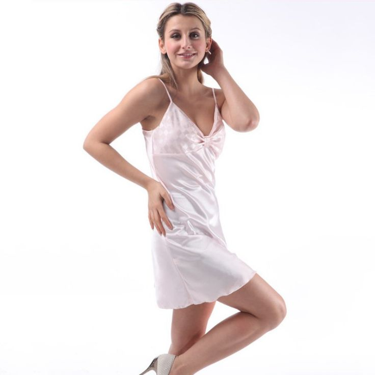 2016 Sleep Dress Sexy Satin Sleepwear Silk Nightgown Women Nightdress Sexy Lingerie Female Nightie