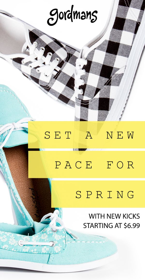 Put your best foot forward! Gordmans offers shoes and footwear for the whole family at affordable prices. Shop Spring's hottest styles like lace-up Keds with a touch of gingham or floral boat shoes that are colorful and comfortable! Find shoes for any occasion when you shop at Gordmans today. #gordmans