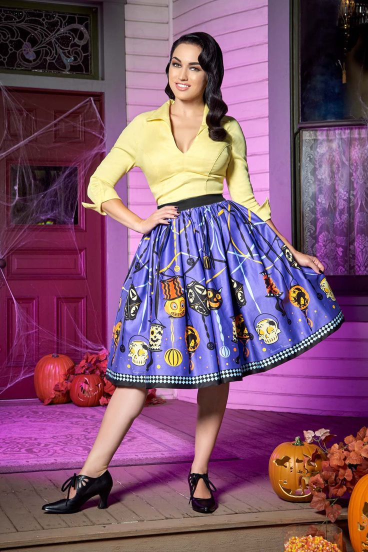 Pinup Couture Jenny Skirt in Lantern Border Print | Pinup Girl Clothing