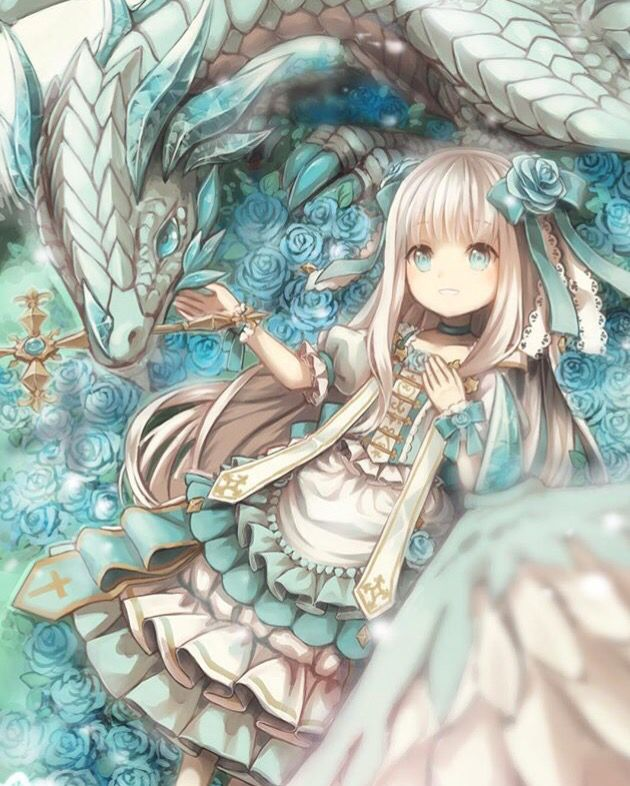Cute anime girl with mysterious dragon •^^•