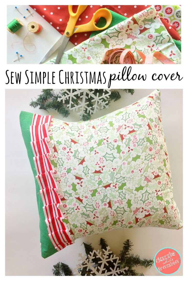 How to make an easy and simple modern DIY Christmas pillow cover using coordinating holiday fabric. Simple sewing project for holiday decor.