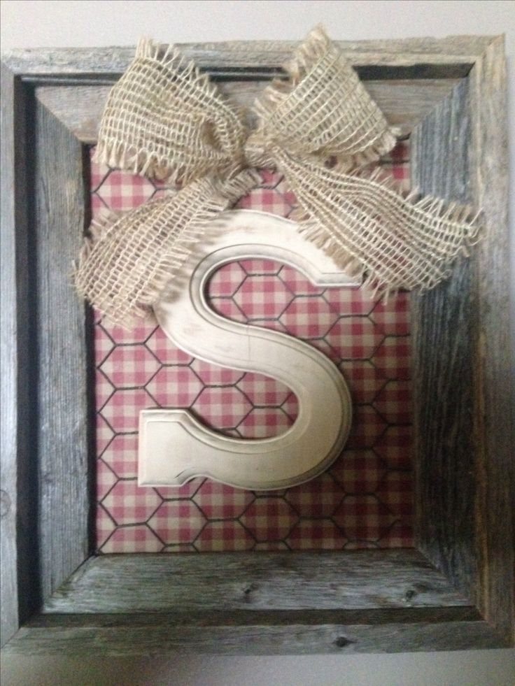 Monogram primitive wall decoration. Barnwood frame, glass removed. Gingham  scrapbook paper, rusty