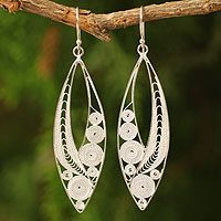 Sterling silver filigree earrings, 'Tendrils'