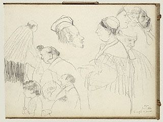 Page of Degas sketchbook, Getty Museum