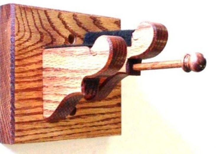 Violin & Bow Hanger Wall Display- Solid Oak Wood With Red Mahogany Finish