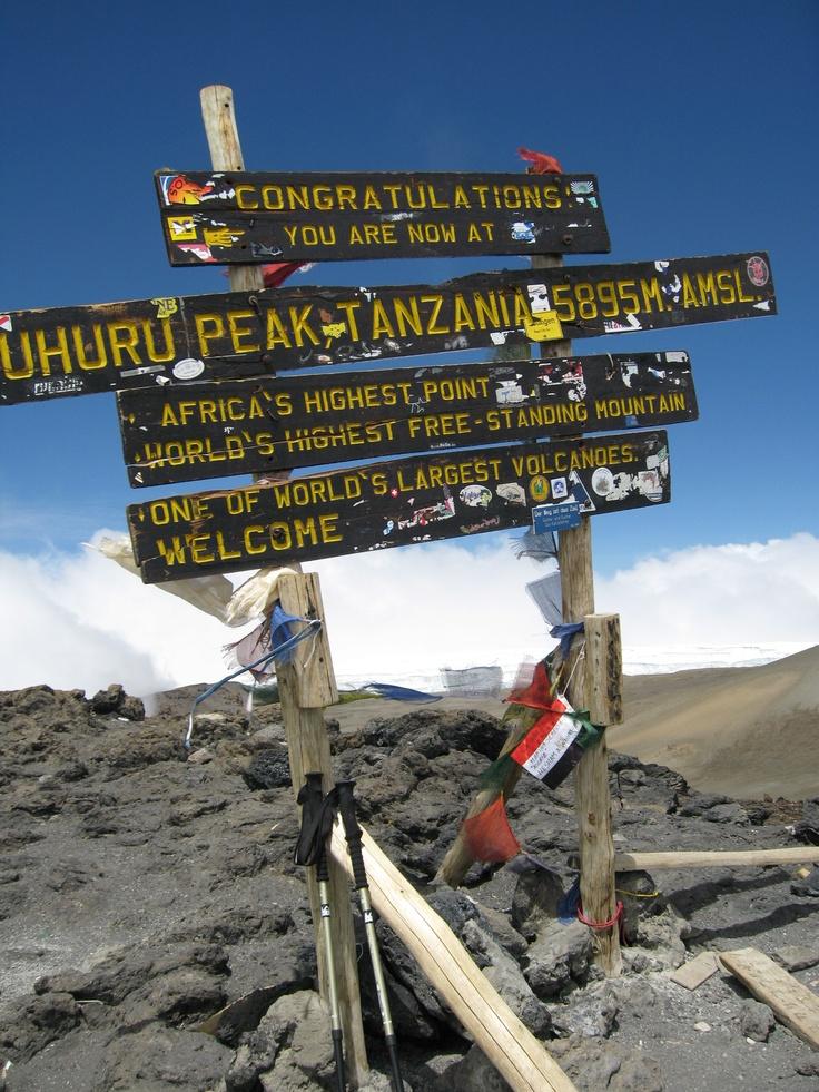 The old summit sign. Mt. Kilimanjaro, Tanzania
