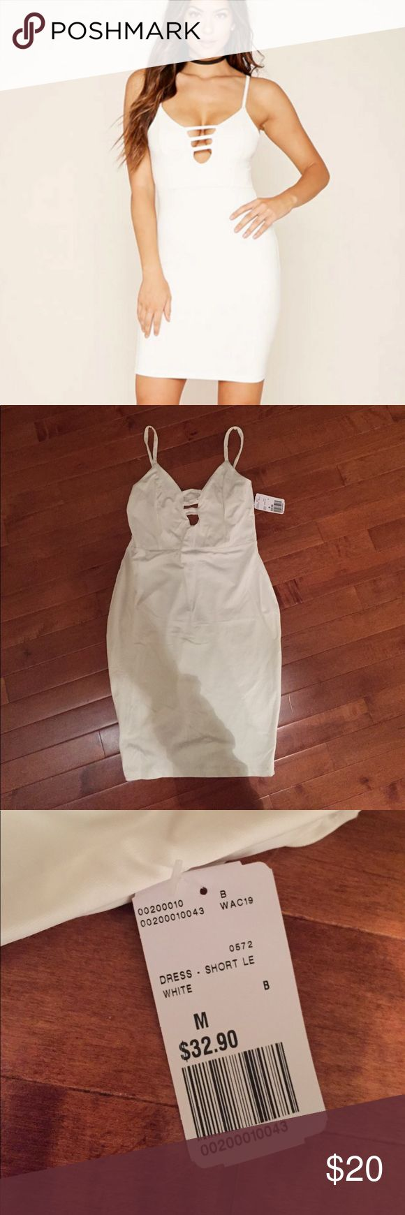[Forever 21] White Ladder Cut Out Dress This dress is NWT! Super cute, the material feels very spandex-y so it's super flattering on! This would be perfect for a night out, I would pair this with beige heels Forever 21 Dresses Mini
