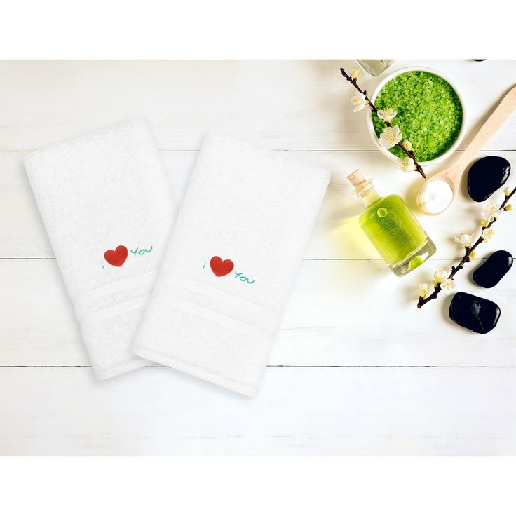 Linum Home Textiles I Love You Embroidered White Hand Towel - Set of 2 - DNZ00-2HT-ILU-AQUA