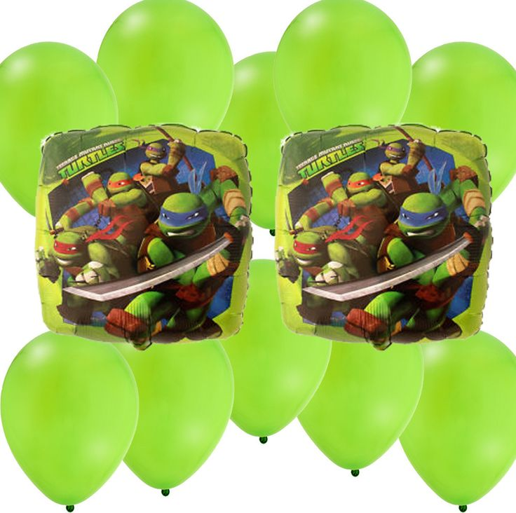 Mylar Latex Party Balloon Set - Ninja Turtles - Green Latex TMNT Party Decorations