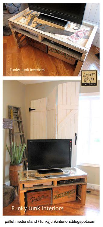 Wood pallet recycled as tv rack