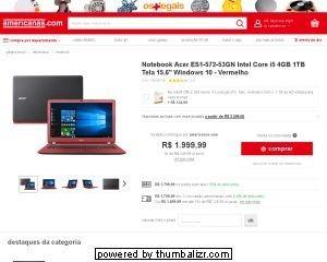 [Americanas]Notebook Acer i5 6ª 4gb 1tb R$1709 CL ou R$1799 Boleto