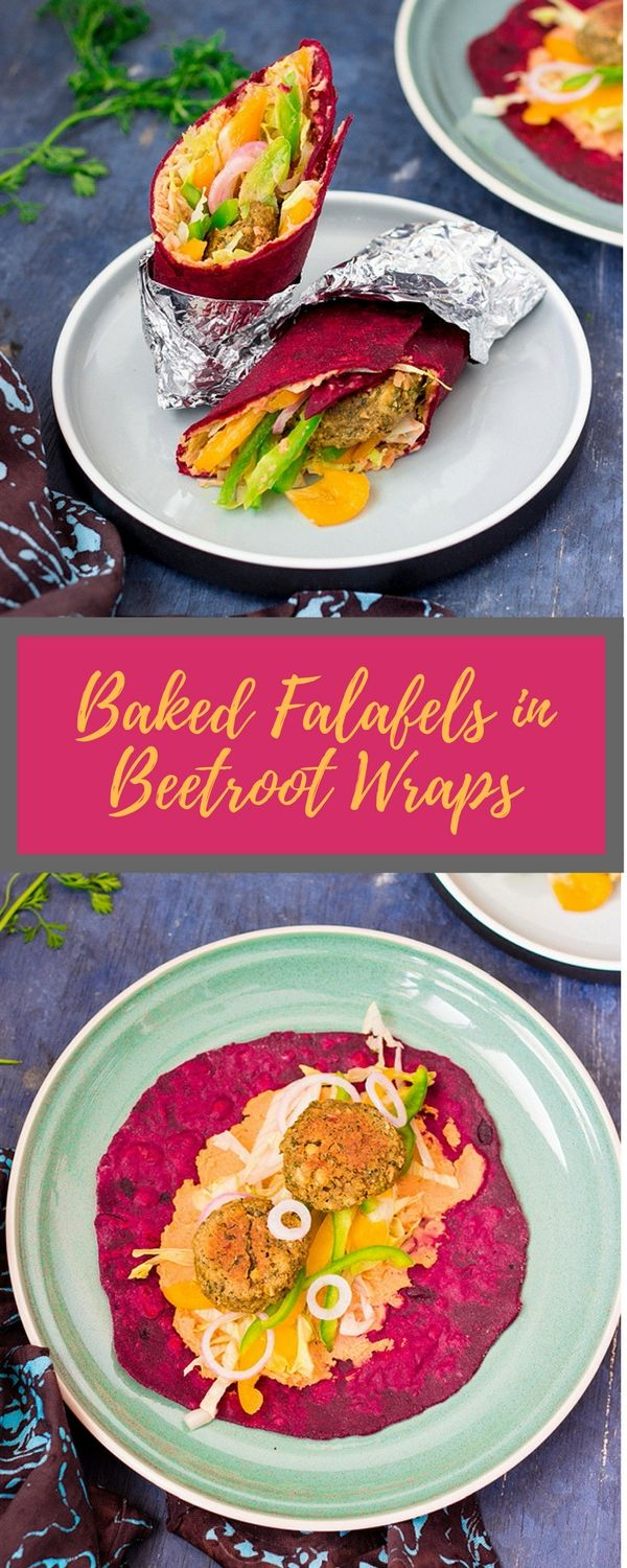 Baked chickpea falafels in a wholewheat beetroot wrap with hummus and capsicum. Vegan and healthy.  #vegan #healthy #recipe #chickpeas #beetroot #wholewheat #plantbased #baked