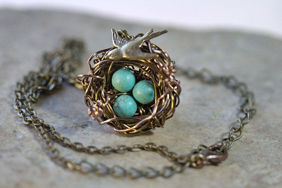 1 to 7 eggs. You choose. NECKLACE Birds Nest Gemstone beads. Bridesmaids gifts. Grandmother daughter bird's nest birdnest. House warming