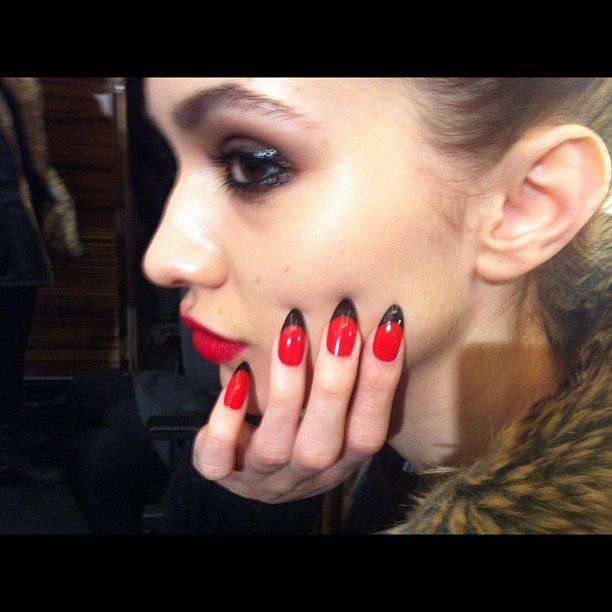Love this gothic twist on a french mani for #LFW Holly Fulton