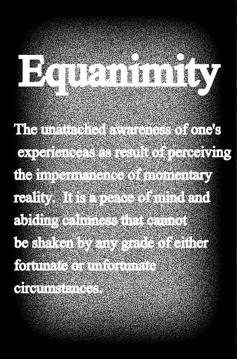 Equanimity.  One of my favorite words.