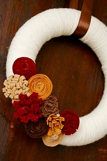 Fall yarn wreath-with a snap on attachment to change with the seasons