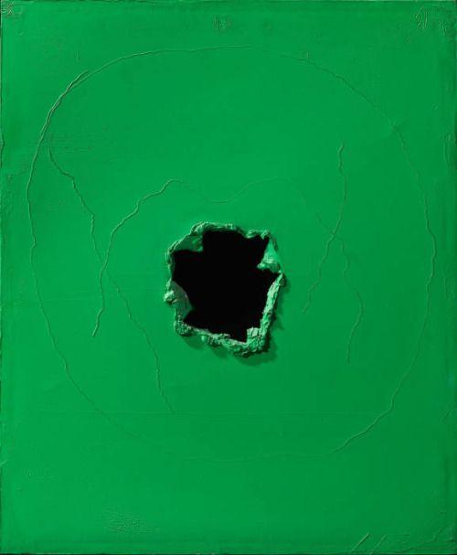 Lucio Fontana, Concetto spaziale (Forma), olio, 1963