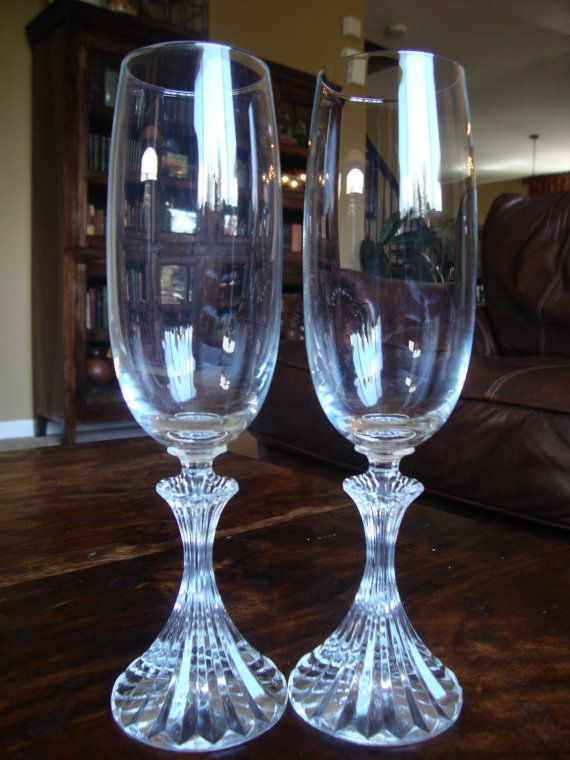 Set Of Two Mikasa Fluted Champagne Crystal Glasses In The