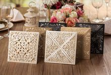 50 pcs/lot Vintage Personalized Wedding Laser Cutting Invitation Card for Gold white and black Paper Hollow Birthday Invitation(China (Mainland))