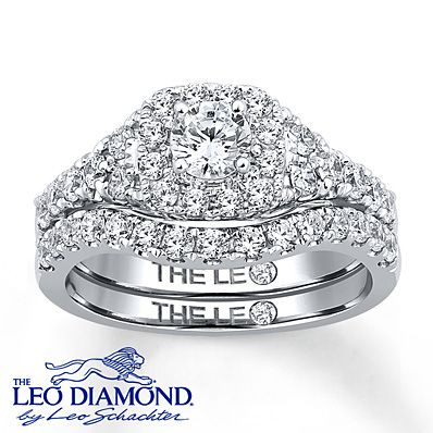 Leo Diamond Bridal Set 1 1/3 ct tw Round-cut 14K White Gold