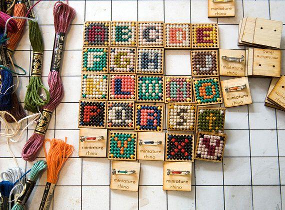 Cross Stitch Wooden Pin
