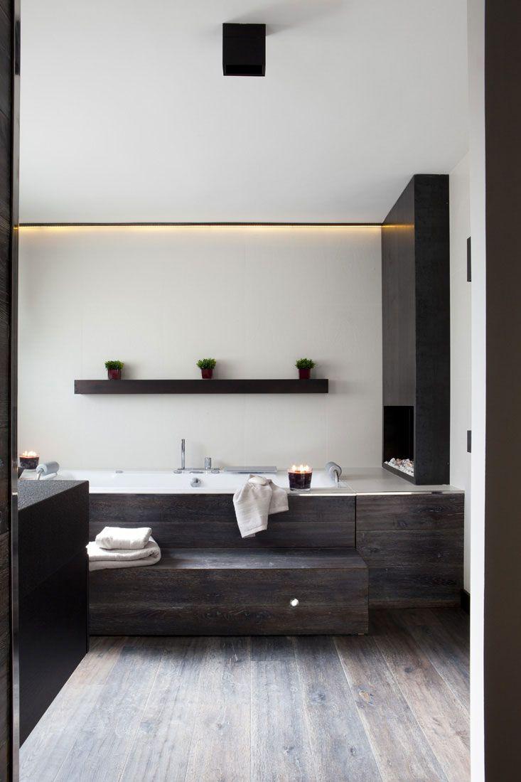 Fireplace in bathroom!
