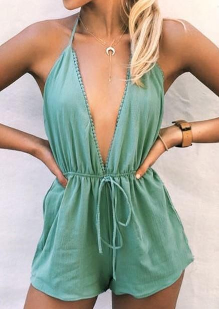 8cbd9c0be228 Shop Solid Solid Deep V-Neck Halter Romper without Necklace online!❤️Get  outfit ideas   style inspiration from fashion designers at AdoreWe.com!