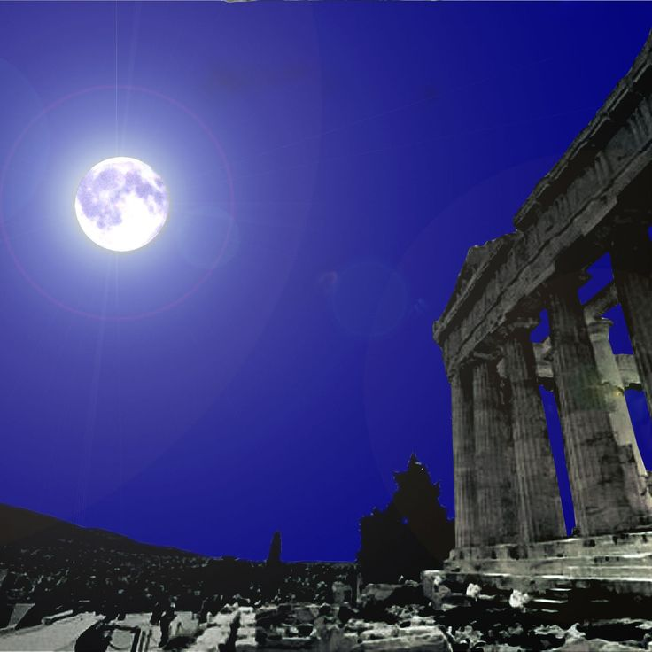 Blue moon in Acropolis of Athens