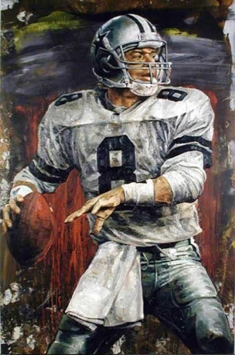 Troy Aikmen, Dallas Cowboys painted by Stephen Holland