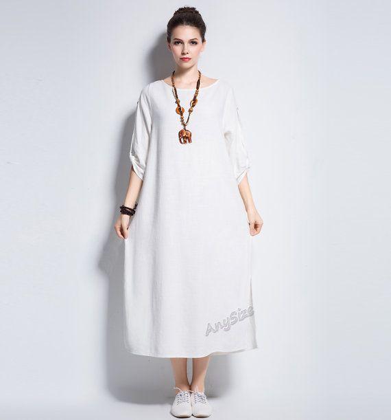 Anysize sides slit coconut buttons linen&cotton dress plus size dress  plus size clothing spring autumn summer dress clothing Y140