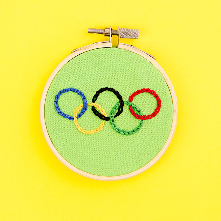 Embroidered Olympic circles.