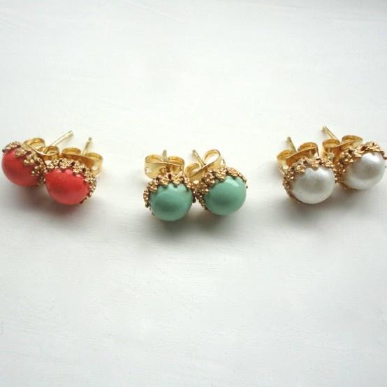 Tiny Stud Earrings Coral Mint Style Pinterest