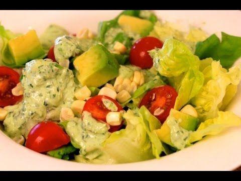 Lettuce Salad With Basil Infused Green Goddess Dressing