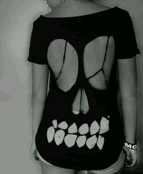 DIY skull cutout shirt