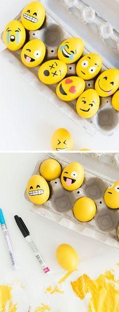 DIY Emoji Easter Eggs   Click Pic for 20 DIY Easter Egg Decorating Ideas for Kids   Easy Easter Egg Crafts for Toddlers